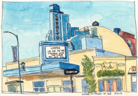 Cerrito Theater sketched by Jana Bouc, December 10, 2012